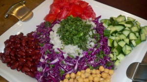 Chopped Red Cabbage Salad Ingredients