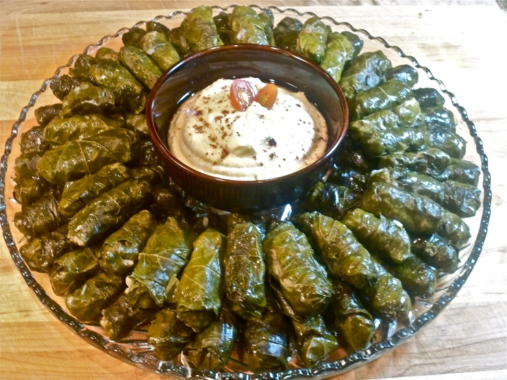 Stuffed Grape Leaves with Hummus